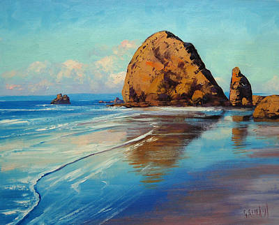 Beach Oil Painting - Low Tide Oregon by Graham Gercken
