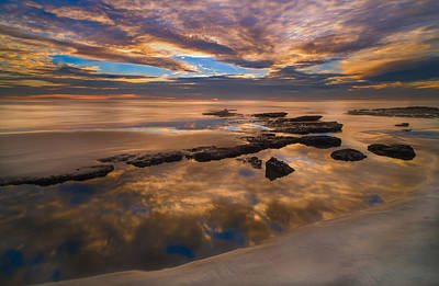 Long Exposure Photograph - Low Tide Reflections by Larry Marshall