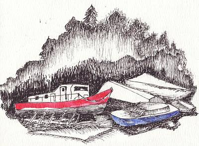 Coastal Maine Drawing - Low Tide by Robert Parsons