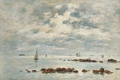 Skyscape Painting - Low Tide Saint Vaast La Hougue by Eugene Louis Boudin
