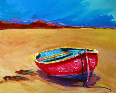 Painting - Low Tides - Landscape Of A Red Boat On The Beach by Patricia Awapara