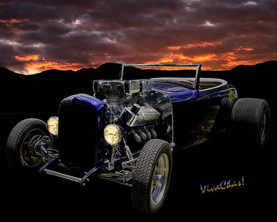Roadster Photograph - Lowboy Roadster Meets Morning's Rosy Glow by Chas Sinklier