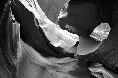 Photograph - Lower Antelope Canyon Black And White by Ed  Riche