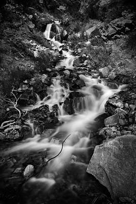Black And White Photograph - Lower Bridal Veil Falls 2 Bw by Roger Snyder