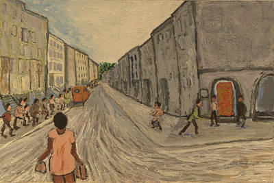 Print featuring the painting Lower East Side Street by Clarence Major