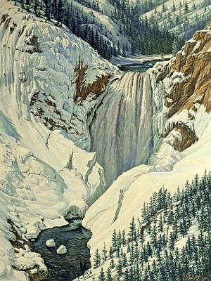 Yellowstone Painting - Lower Falls-april by Paul Krapf