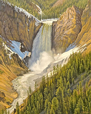 Yellowstone Painting - Lower Falls-may   by Paul Krapf