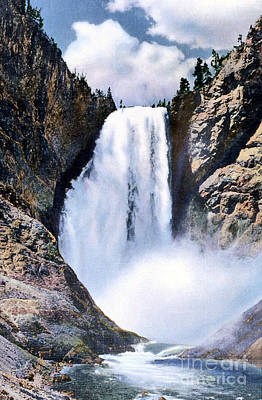 Photograph - Lower Falls Yellowstone National Park by NPS Photo Frank J Haynes
