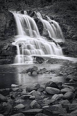 Photograph - Lower Gooseberry Falls In Black And White by Randall Nyhof