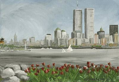 The Twin Towers Of The World Trade Center Painting - Lower Manhattan 1992 by Susan Richardson