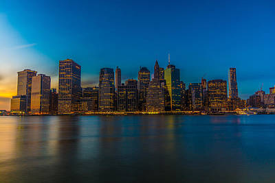 Surrealism Royalty-Free and Rights-Managed Images - Lower Manhattan at Dusk by Surreal Jersey Shore