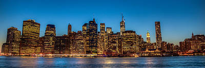 Art Print featuring the photograph Lower Manhattan At Night by Chris McKenna