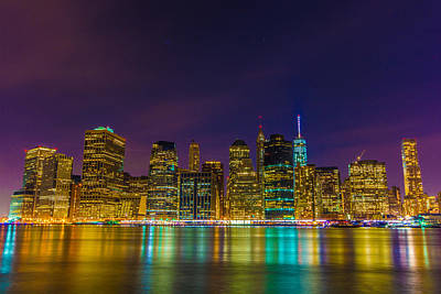 Surrealism Royalty-Free and Rights-Managed Images - Lower Manhattan at Night by Surreal Jersey Shore