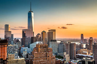 New York Skyline Royalty-Free and Rights-Managed Images - Lower Manhattan at sunset by Mihai Andritoiu