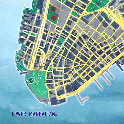 Nyc Digital Art - Lower Manhattan by Gary Grayson