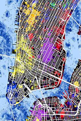 World Tour Digital Art - Lower Manhattan Map by Stephen Younts