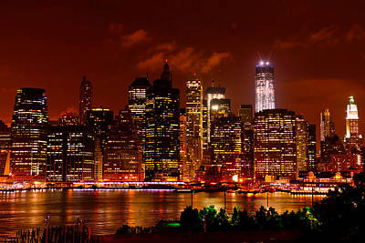 Photograph - Lower Manhattan Night Skyline by Greg Norrell