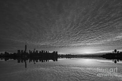911 Memorial Photograph - Lower Manhattan Sunrise Bw by Michael Ver Sprill