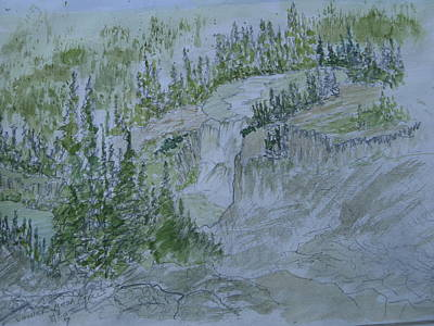 Painting - Lower Mesa Falls A Watercolor Sketch by Joel Deutsch