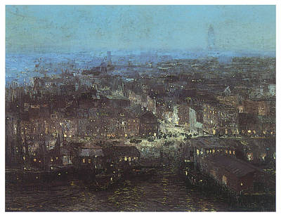 City Scape Painting - Lower New York by Edward Redfield