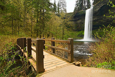 Photograph - Lower South Waterfall With Footbridge In Oregon Columbia River Gorge. by Jamie Pham