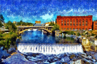 Digital Art - Lower Spokane Falls by Kaylee Mason