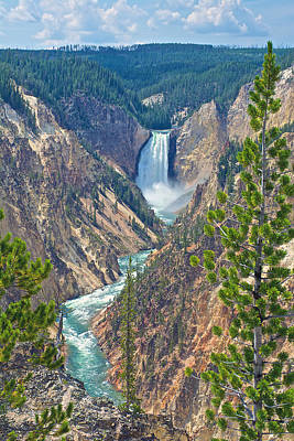 Lower Yellowstone Falls From Artist's Point On South Rim Of Grand Canyon Of The Yellowstone-wyoming Art Print by Ruth Hager