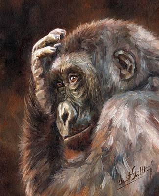 Ape Painting - Lowland Gorilla by David Stribbling