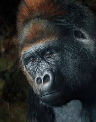 Gorillas Painting - Lowland Gorilla Painting by David Stribbling