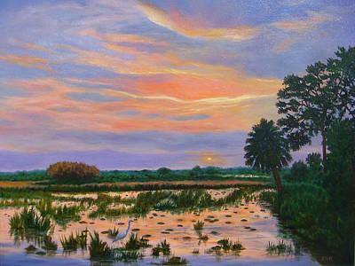 Art Print featuring the painting Loxahatchee Sunset by Karen Zuk Rosenblatt