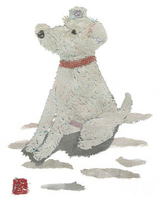 Painting - Lakeland Terrier Art Hand-torn Newspaper Collage Art Pet Portrait by Keiko Suzuki