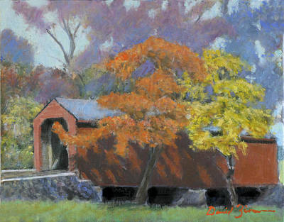 Covered Bridge Painting - Loys Station by David Zimmerman