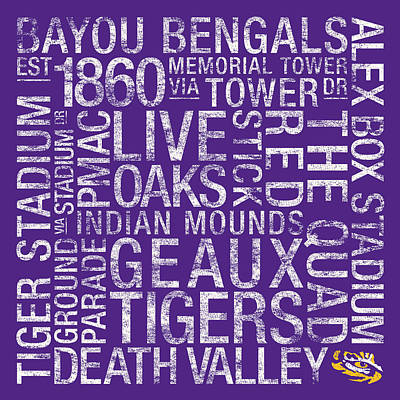Word Art Photograph - Lsu College Colors Subway Art by Replay Photos