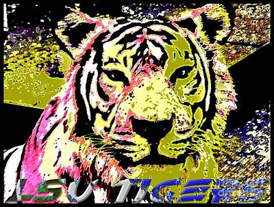 Louisiana State University Digital Art - Lsu Fighting Tigers by RJ Aguilar
