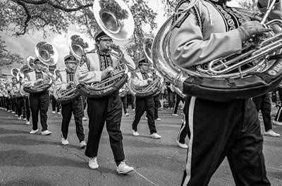 Louisiana State University Photograph - Lsu Tigers Band Monochrome by Steve Harrington
