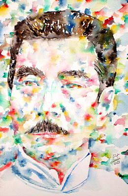 Lu Xun Wall Art - Painting - Lu Xun Watercolor Portrait by Fabrizio Cassetta