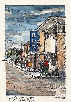 Greyhound Mixed Media - Lubbock Bus Station by Tim Oliver