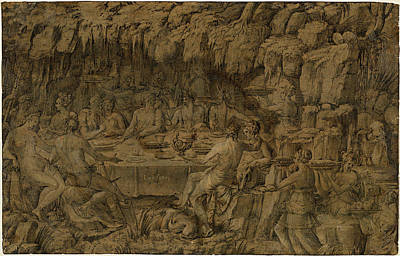Wash Drawing - Luca Penni, Italian 1500-1504-1556, The Banquet Of Achelous by Litz Collection