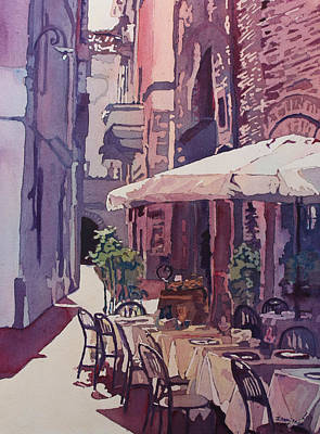 Lucca Cafe Art Print by Jenny Armitage
