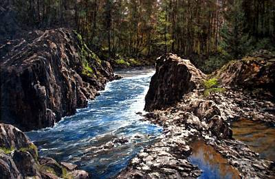 Wall Art - Painting - Lucia Falls Downstream by Jim Gola