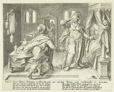 Lucia Raises Her Eyes, Zacharias Dolendo Art Print by Jacob De Gheyn (ii) And Claes Jansz. Visscher (ii)