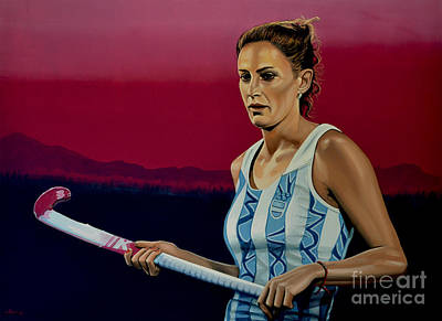Art Of Hockey Painting - Luciana Aymar by Paul Meijering