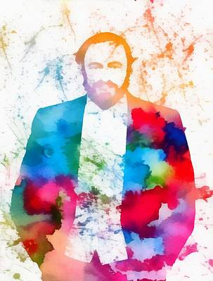 Icon Mixed Media - Luciano Pavarotti Paint Splatter by Dan Sproul