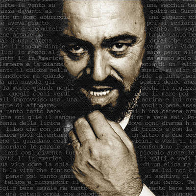 Dot Painting - Luciano Pavarotti by Tony Rubino