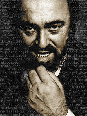 Mixed Media - Luciano Pavarotti Vertical by Tony Rubino