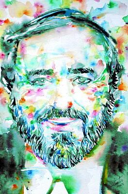 Painting - Luciano Pavarotti - Watercolor Portrait by Fabrizio Cassetta