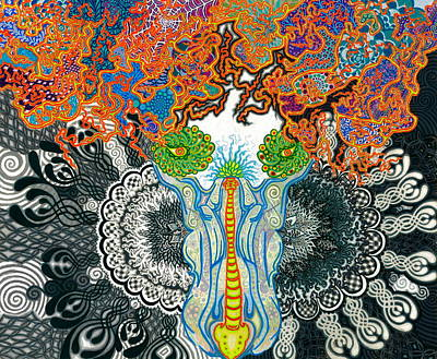 Visionary Art Drawing - Lucifer's Whip by Elizabeth  Keating