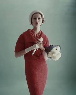 1950s Fashion Photograph - Lucinda Hollingsworth Wearing A Red Suit by Karen Radkai