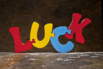 Positive Attitude Photograph - Luck Jigsaw Puzzle Painted Wood Letters by Donald  Erickson