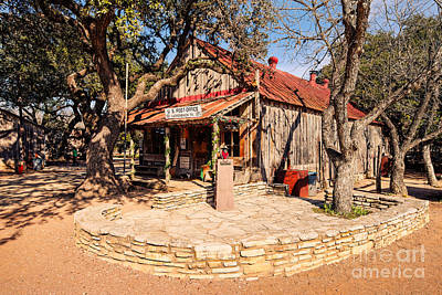 Luckenbach Post Office In Golden Hour Light - Texas Hill Country Art Print by Silvio Ligutti